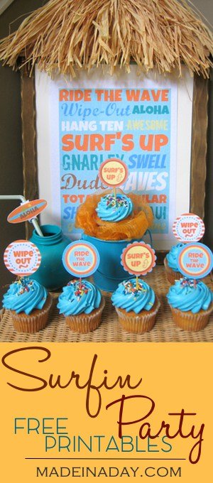 Surfin Party Free Printables Set #1, Add some fun to your Surfing party with these cute FREE Printable cupcake toppers, drink labels and frameable quote.