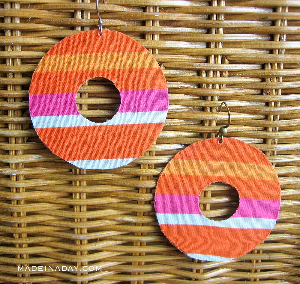 Simple Fabric Decoupage Earring Makeover