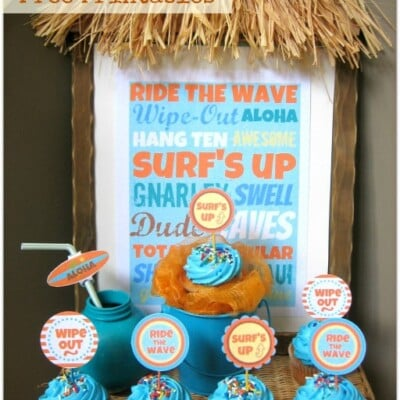 Cool Surfin Party Free Printable Set