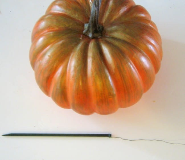 Add a Pick to a Pumpkin to Place in Arangement madeinaday.com