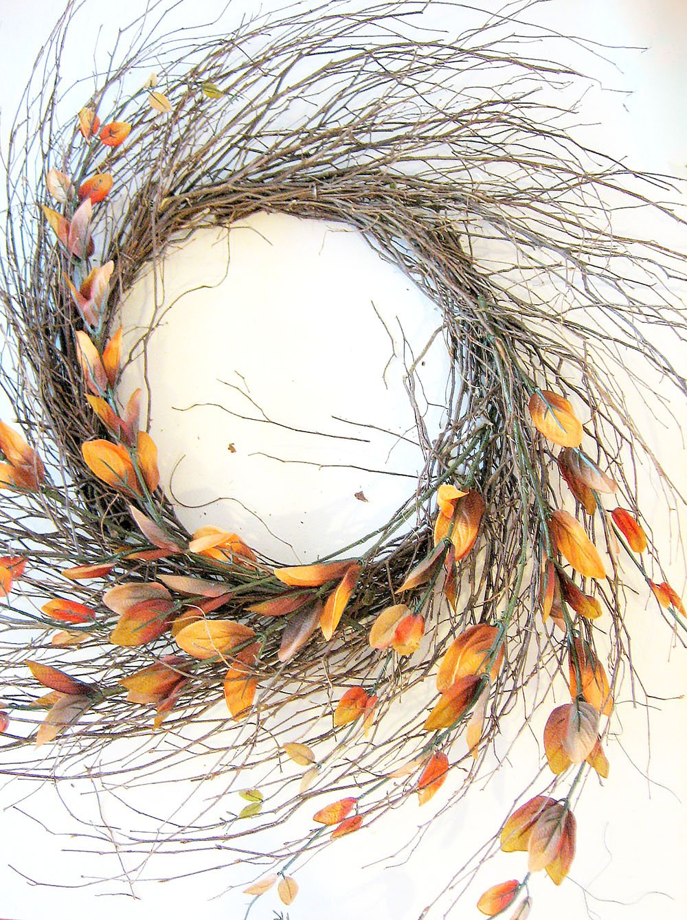 Add Silk Branches to the Curve of the Wispy Wreath