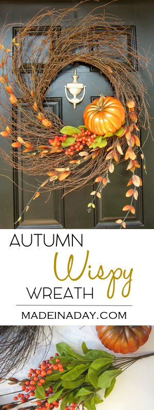 Autumn Wispy Wreath Tutorial, See how I take one wispy wreath and use it for all the fall to winter holidays! Fall wreath, pumpkin wreath, fall foliage, wispy wreath, pumpkin wispy wreath