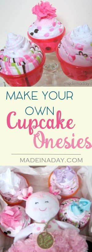 DIY #Baby Blanket & #Onesie #Cupcakes, Be the hit of the Baby Shower! Super easy craft, just roll up Onesies & Blankets and add to bowls to make a cupcake!