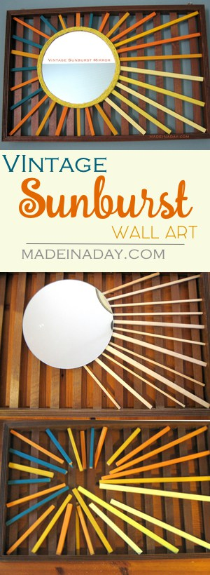 DIY Vintage Sunburst Mirror Wall Art, Love Vintage Sunbursts? Well this craft is for you! Paint dowels and add a mirror for this super fun vintage wall art!