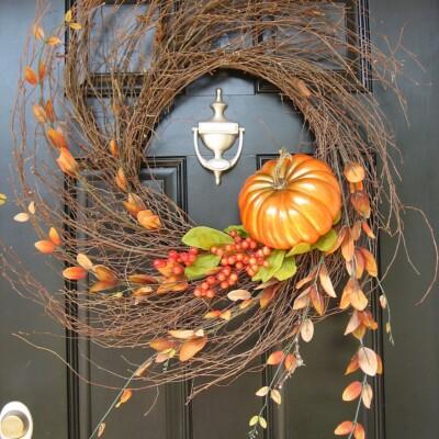 Harvest Pumpkin Autumn Wispy Wreath