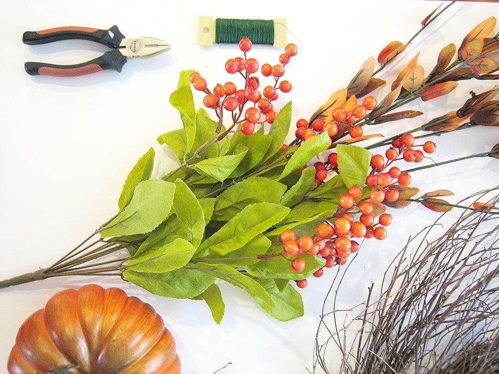 Fall Pumpkin and Berry Wispy Wreath