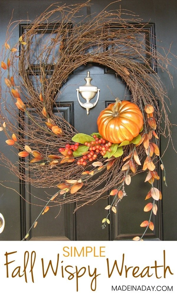 Autumn Wispy Wreath Tutorial, See how I take one wispy wreath and use it for all the fall to winter holidays! Fall wreath, pumpkin wreath, double door wreath, autumn wreaths for the front door, fall foliage, wispy wreath, pumpkin wispy wreath #fall #wreath #pumpkin #pumpkinwreath #falldecor #autumn #fallwreath #pumpkinwreath #pumpkin