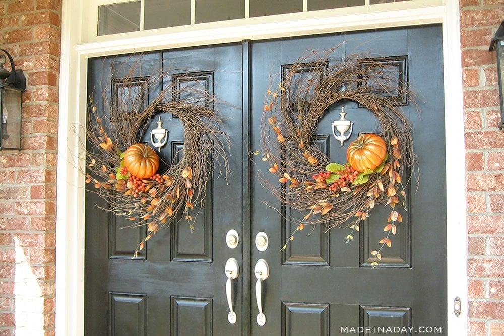 Pumpkin wispy wreath for fall, pumpkin wreath, pumpkin spray wreath, double door wreath, double door fall decor
