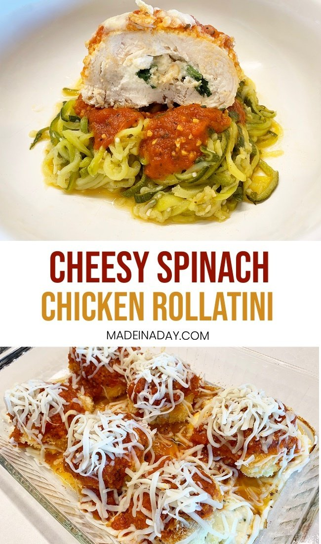 chicken spinach rollatini with zoodles