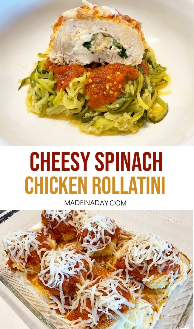 Chicken Rollatini, Spinach Rollatini Recipe, chicken cutlets, chicken rollatini zucchini, chicken spinach rollatini zoodles #recipe #rollatini #pasta #chicken #zoodles #zucchini #lowcarb