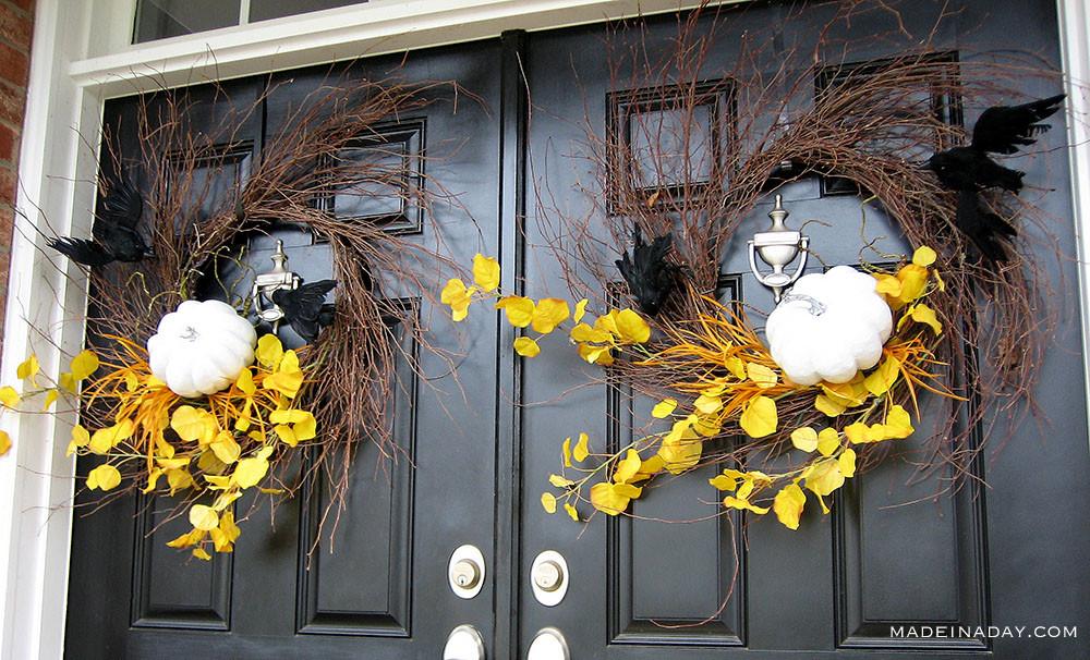 Double Door Halloween Wreaths, spooky wispy wreath, Yellow Halloween Pumpkin wreaths