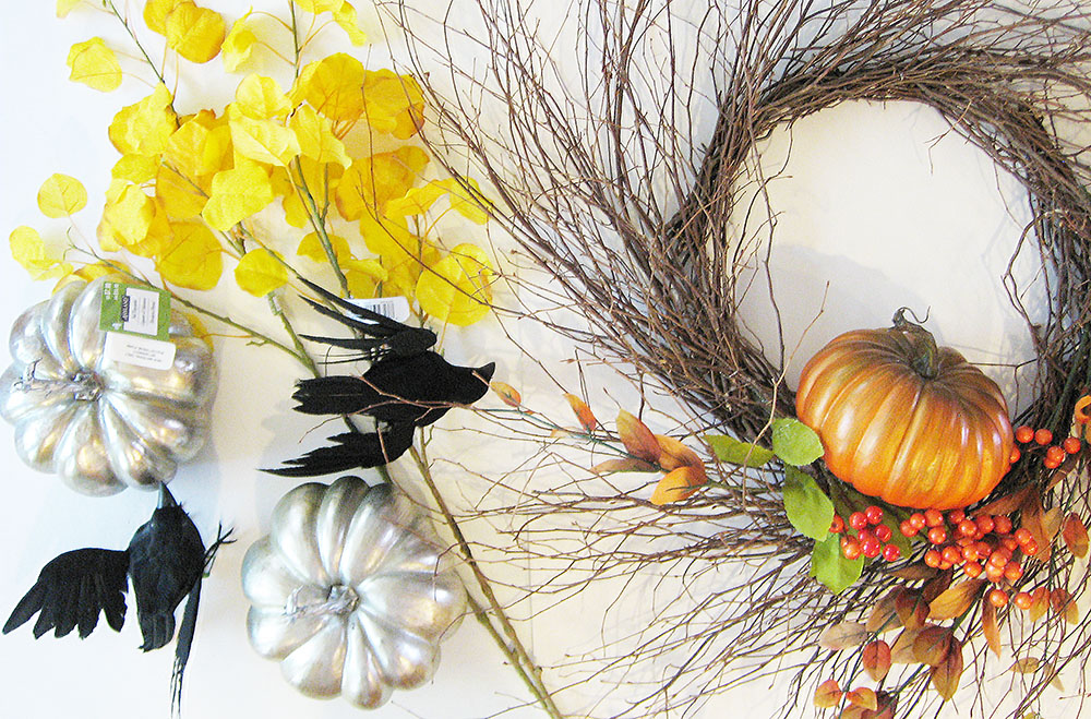 Change a fall wreath to a Halloween wreath, halloween pumpkin wreath