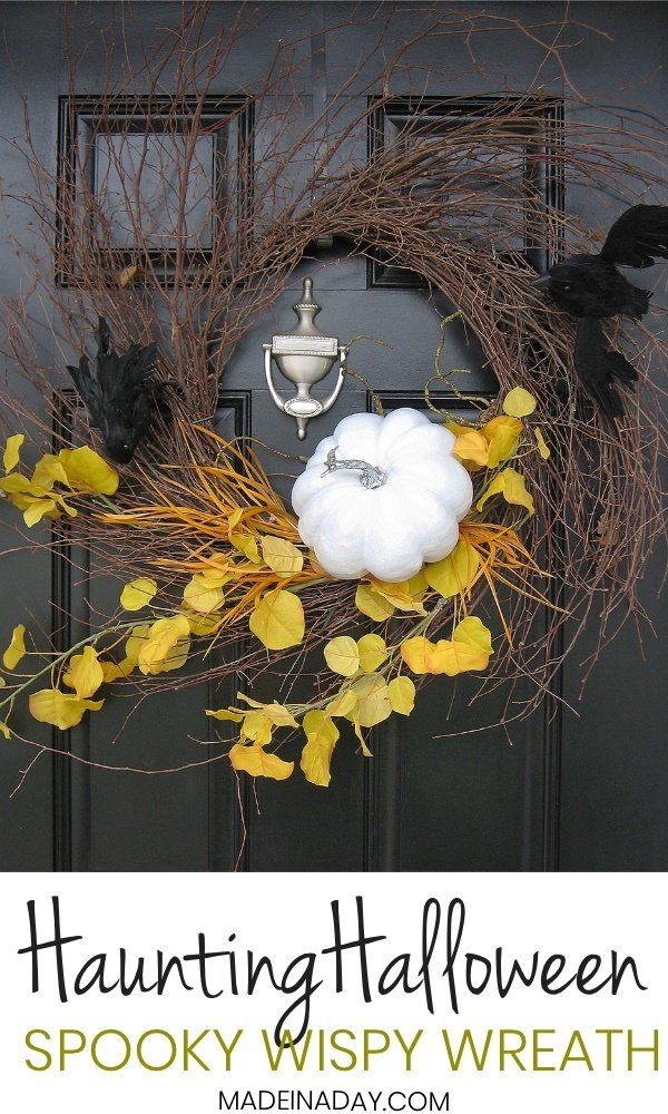 Haunting Halloween Bat Spooky Wispy Wreath! Simple DIY Halloween wreath makeover from my Autumn Wispy Wreath! Halloween door hanger, crow wreath, white pumpkin wreath, yellow orange black wreath, DIY Halloween decor #halloween #whitepumpkin #wreath #falldecor #wispywreath #crow