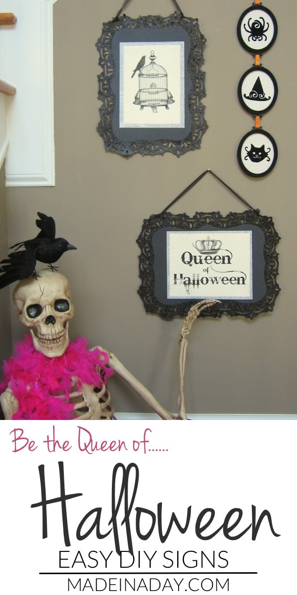 DIY Halloween Signs, create your own Halloween signs from vintage images and Target's dollar section, Queen of Halloween