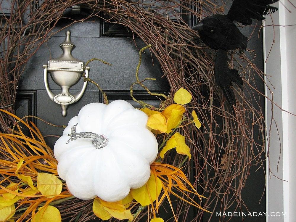 Halloween White Pumpkin spooky wispy wreath