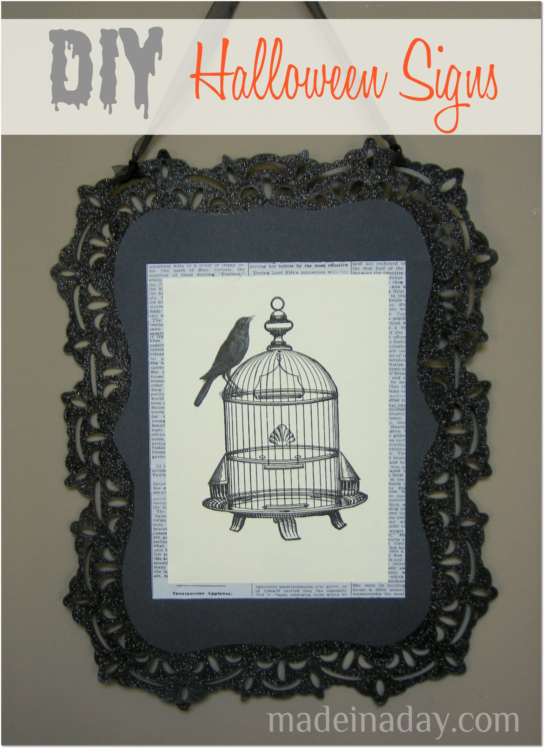 hallloween crow birdcage sign
