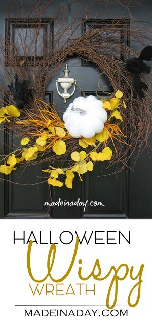 Spooky Halloween Wispy Wreath, See how I made over my Fall Wispy wreath into this striking Halloween door hanger, crow wreath, white pumpkin wreath, yellow orange black wreath, DIY Halloween decor #halloween #whitepumpkin #wreath #falldecor #crow