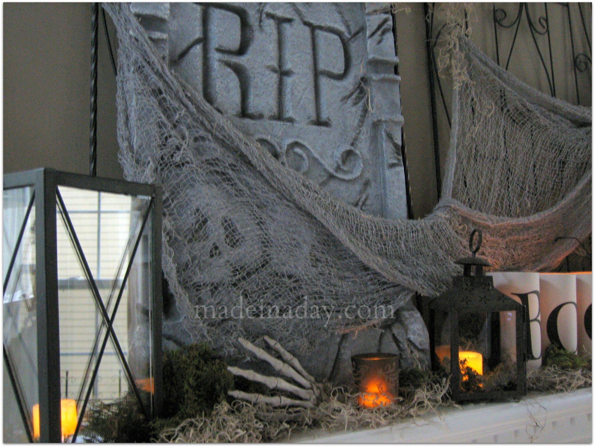 Cemetery Mantel Tombstones lanterns owl