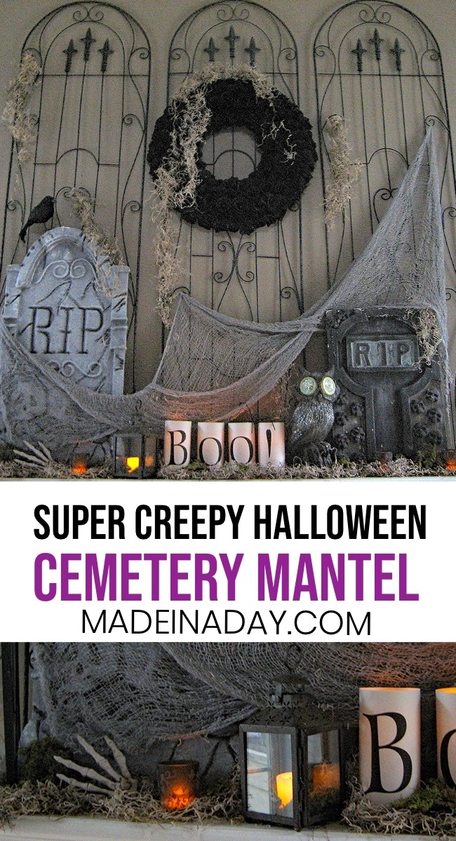 Cemetery Mantel Halloween Decor, Halloween Mantel