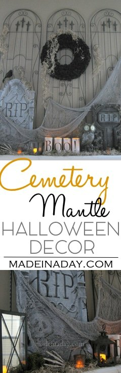 Cemetery Halloween Mantel,Create an indoor cemetery for your next Halloween Party with a garden trellis! Tombstones, solar owl, Halloween party decor