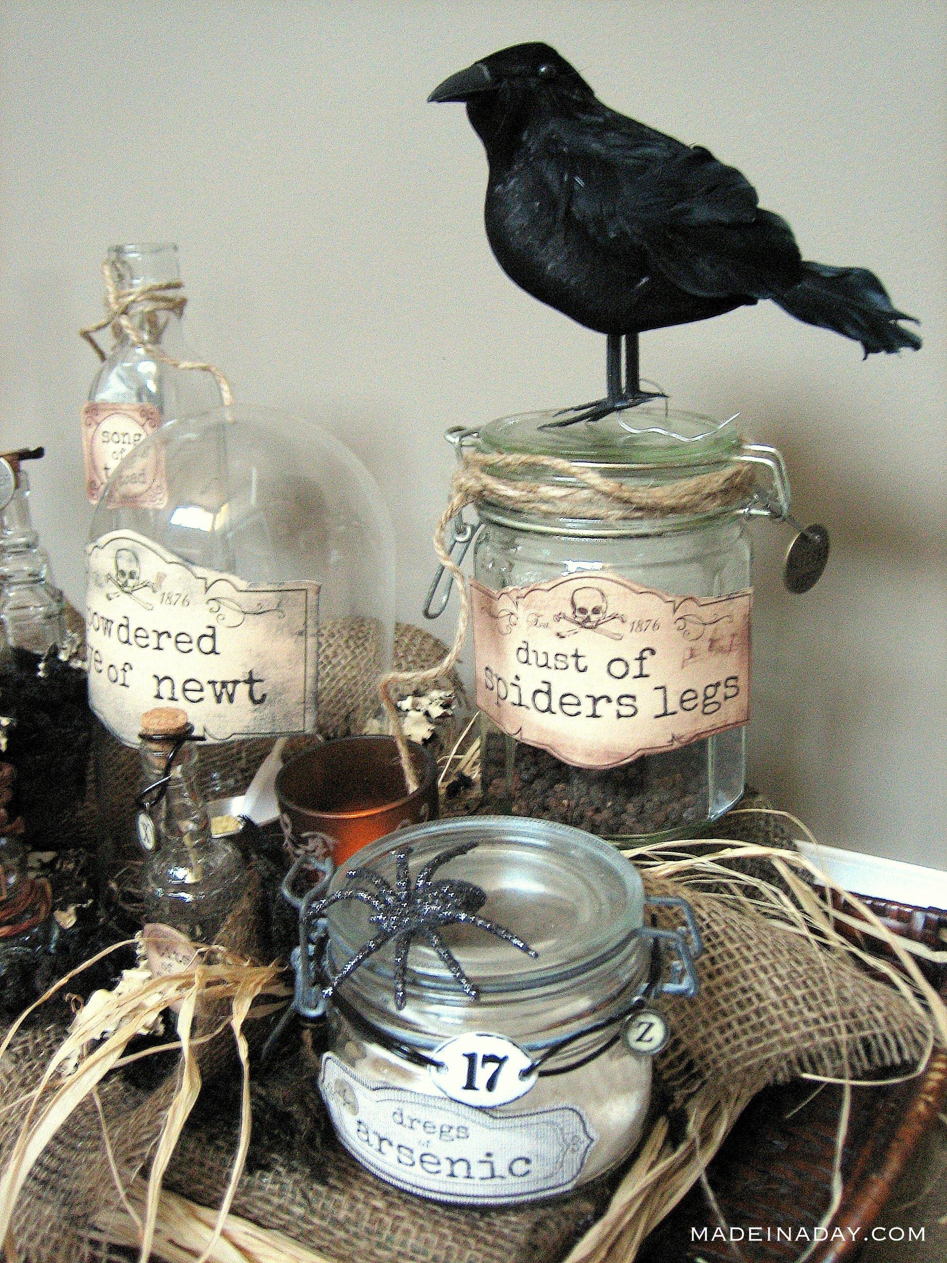 witch potion bottles, halloween potion bottles, DIY potion bottles