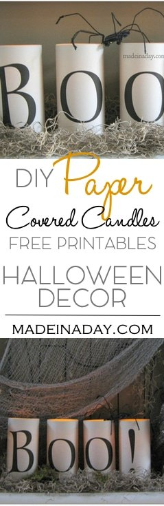 Simple Scary Halloween Candles Free Printables, easy Halloween decor, easy craft, Boo candles, how to install fonts on your computer