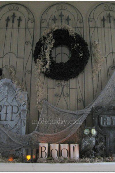 Cemetery Halloween Mantel