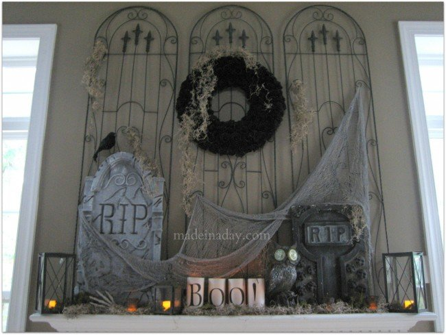 Halloween Mantel Cemetery Decor