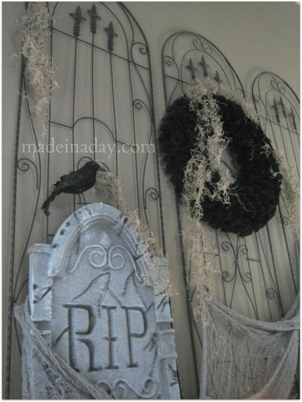 Halloween cemetery gates mantel