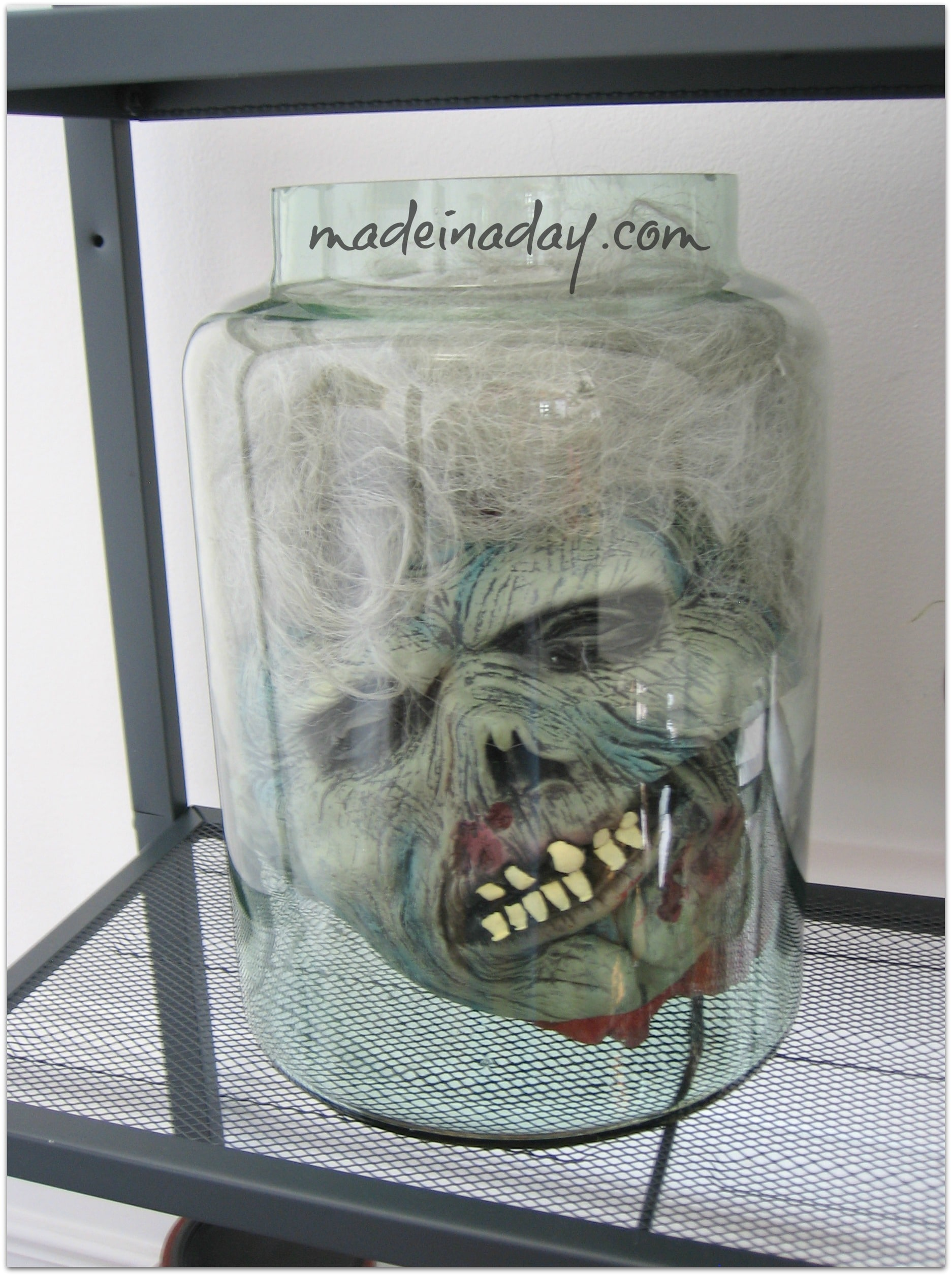 Halloween Head in a Jar prop
