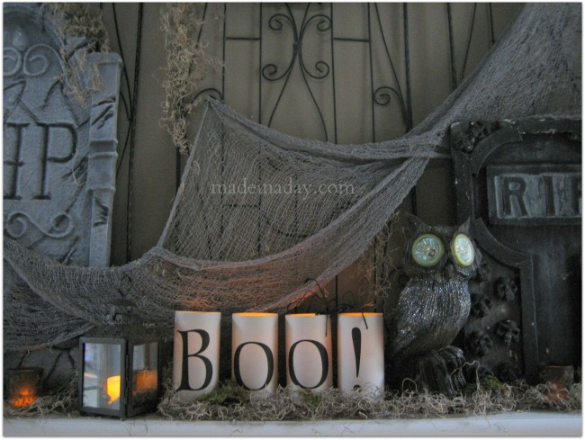 Halloween Tombstone Owl mantle