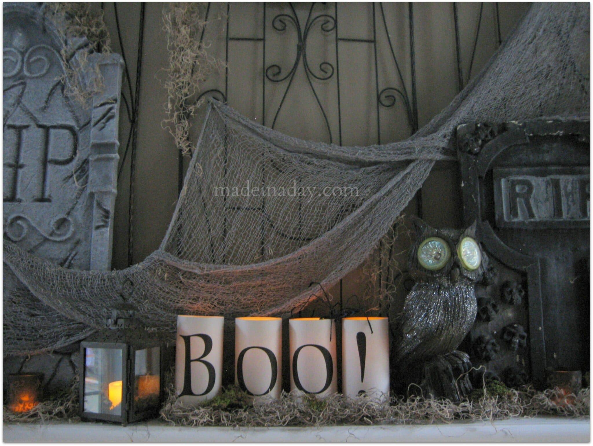 Halloween Tombstone Owl mantle
