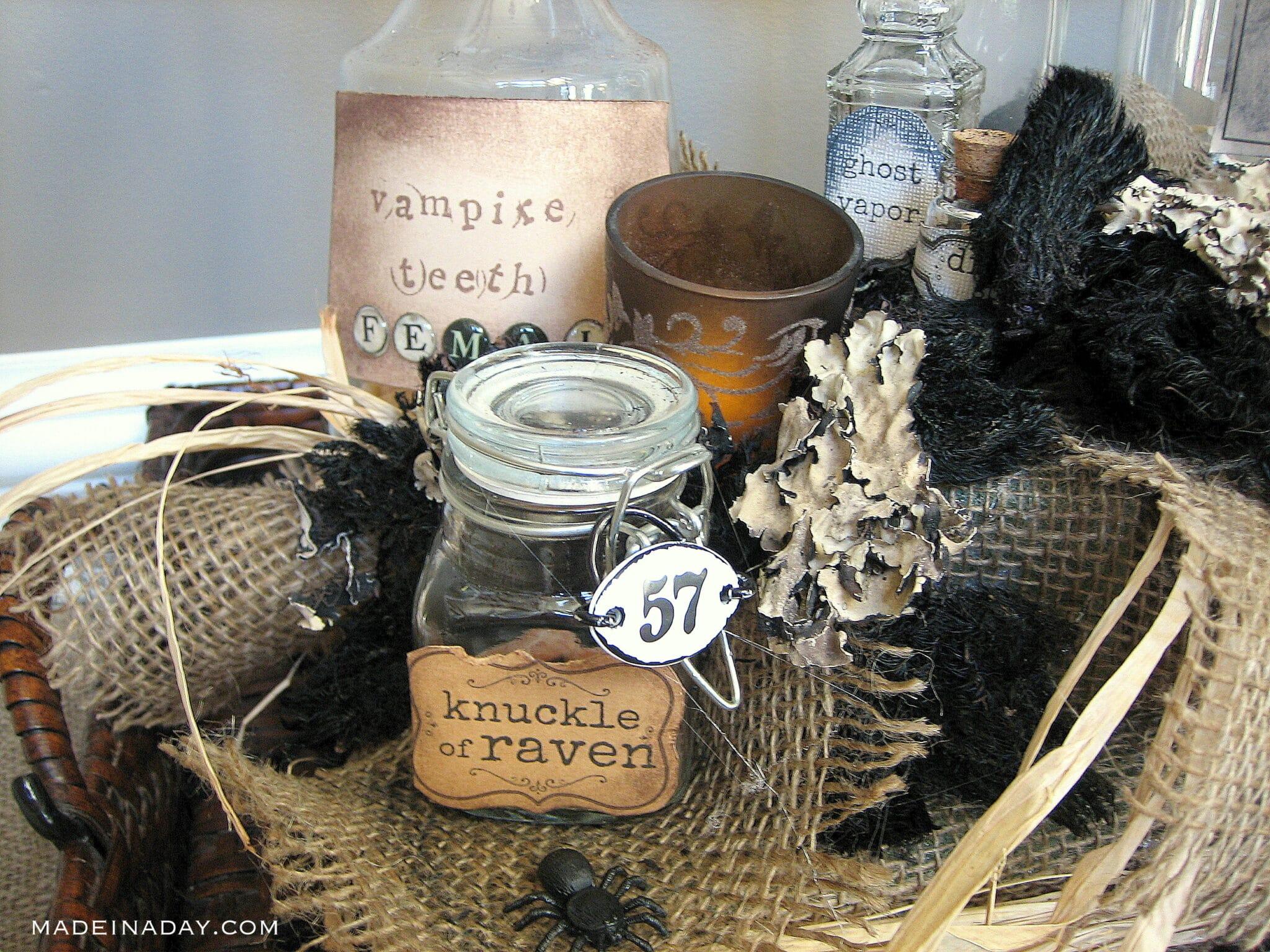 DIY Halloween potions bottles, creepy bottles, witch potion bottles