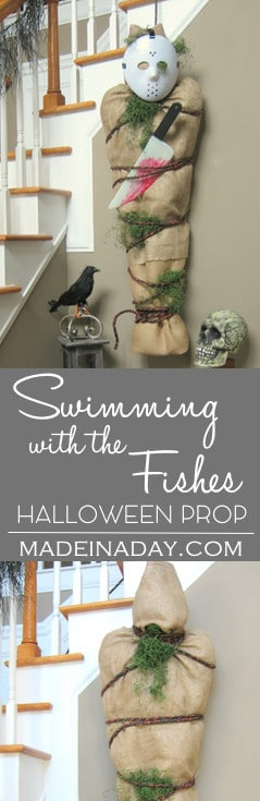 Scare your guests at your next Halloween Party with this DIY Jason Vorhees Prop, drowned victim. Swimming with the Fishes.