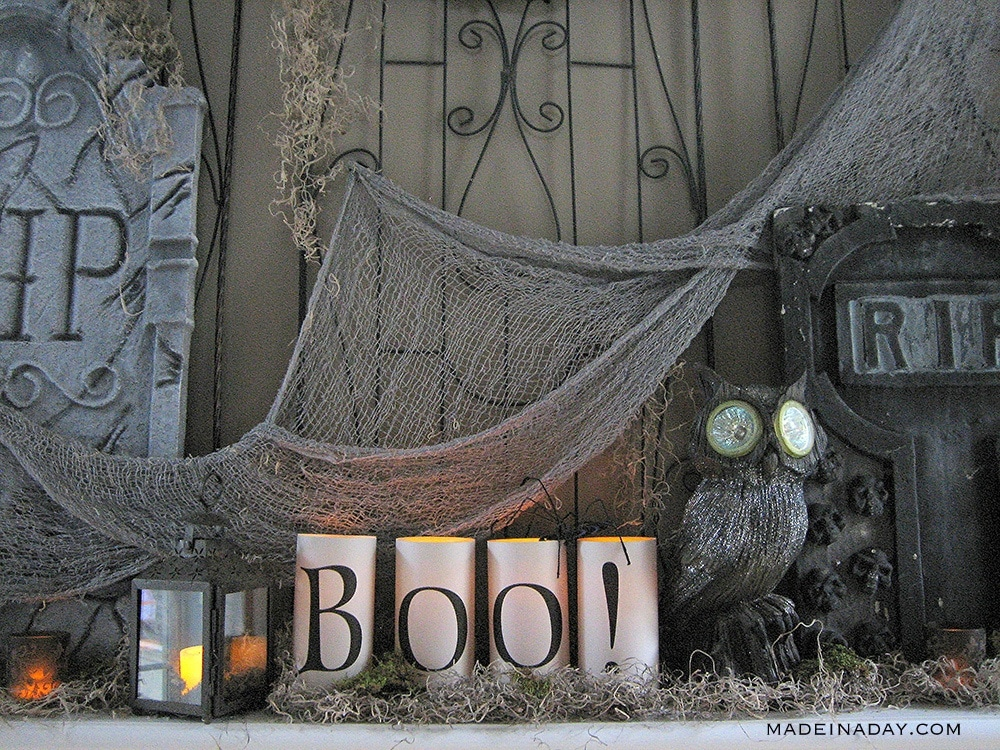 how to create a cemetery Halloween mantel, tombstone mantel Halloween decorations