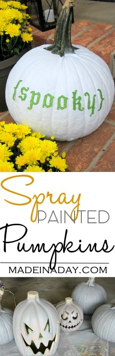Spray Painted Pumpkins, Spray paint your real & faux pumpkins to the color you want! Add cardboard letters to real pumpkin, white pumpkin #pumpkin #whitepumpkin #Spraypaint #paint #halloween #falldecor
