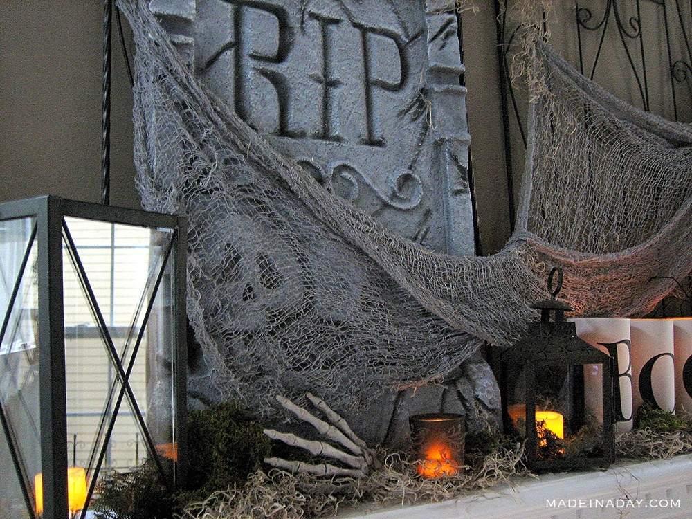 Halloween Tombstone Mantel