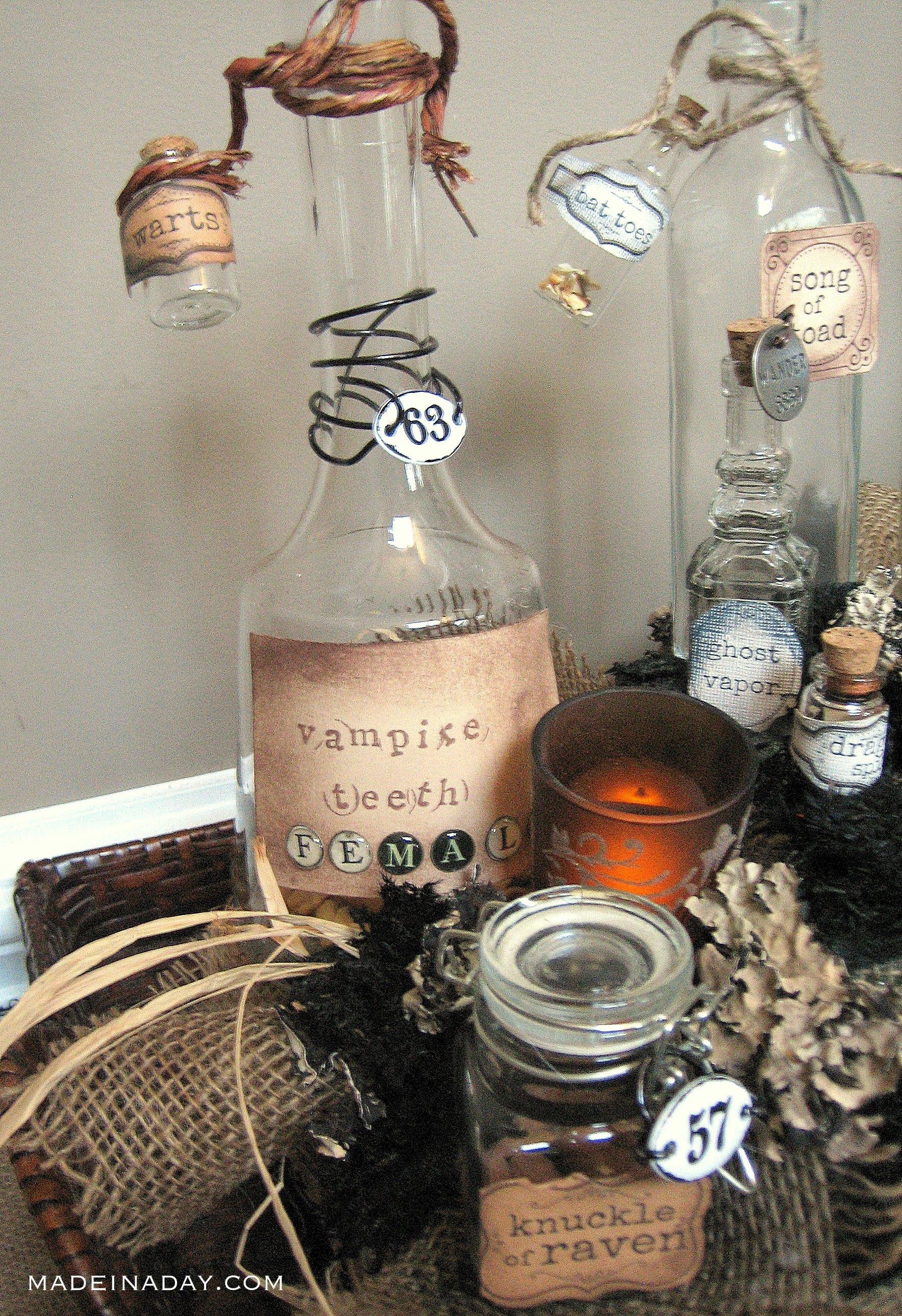 labels for potion jars, halloween labels, potion centerpiece