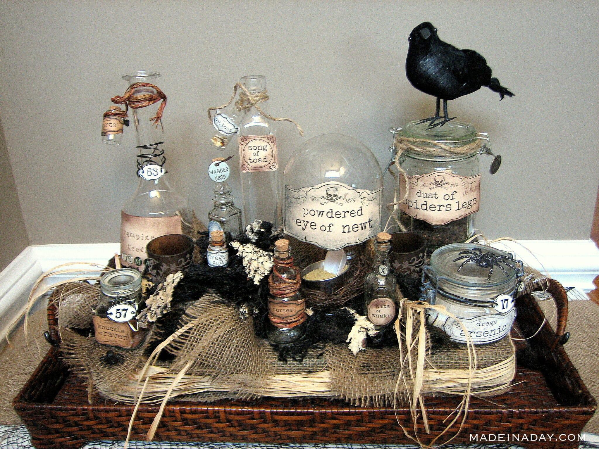 Halloween potion centerpiece, potion jar centerpiece, creepy potion jars