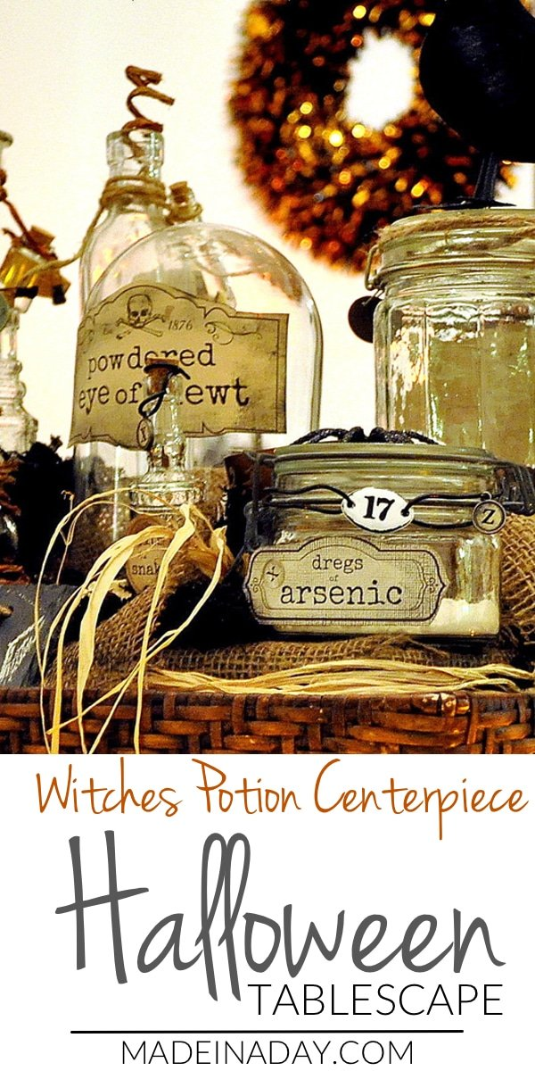 How to put together a centerpiece that has potion bottles and spooky items that make a great focal piece for your Halloween tablescape. Halloween, witch potion bottles, potion bottles, elxir bottles,
