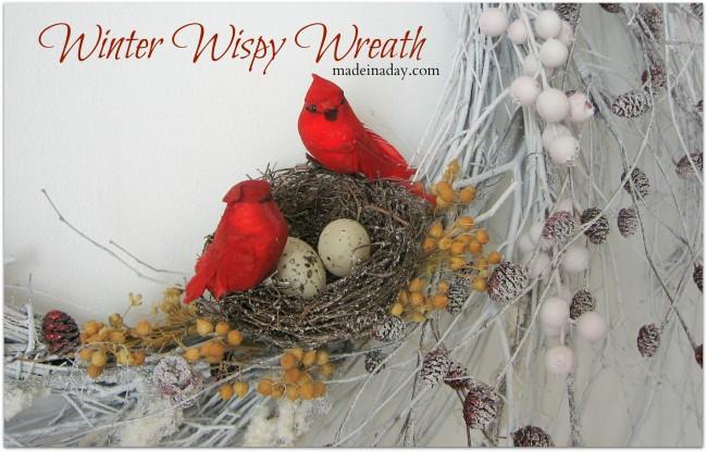 Christmas White Wreath snow bird