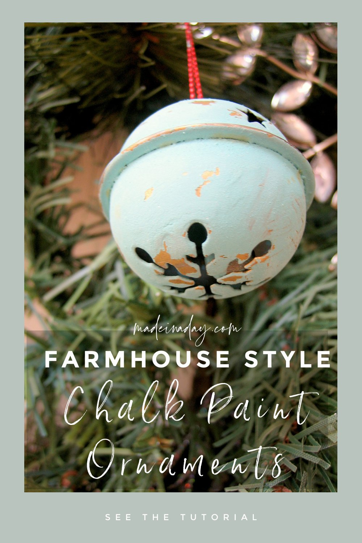 Easy Farmhouse Chalk Paint Ornaments