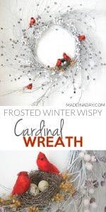Snowy Red Cardinal Winter Wispy Wreath 1
