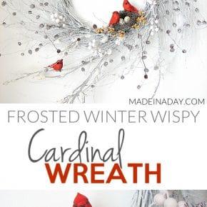 Snowy Red Cardinal Winter Wispy Wreath 31