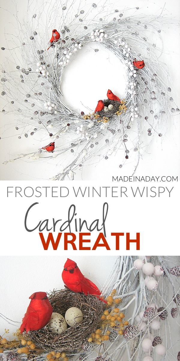 Snowy Red Cardinal Winter Wispy Wreath, Flocked Wreath, Change a natural wispy wreath into a winter snow covered version with spray snow! #Redbird #Whitewreath #Redcardinalwreath #Winter #white #Snow #Holidaydecor #winterdecor