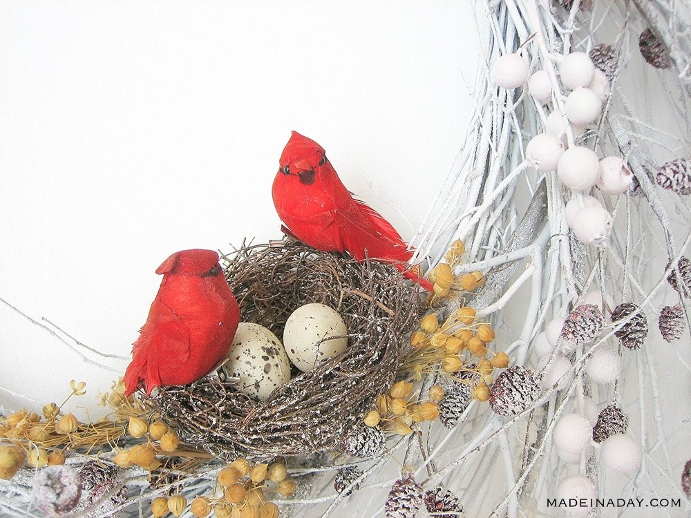 Red Cardinal Nest Wreath, Winter Snow Wreath with Red Birds, DIY Red Cardinal Wreath