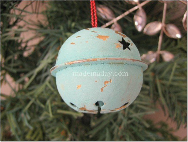 Shabby painted Bell ornament