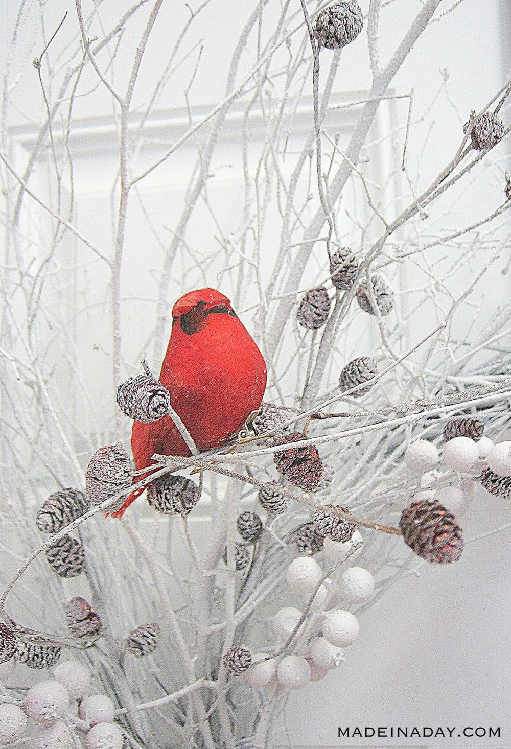 Add Faux Snow to a Wispy Wreath, Red Bird Berry Wreath
