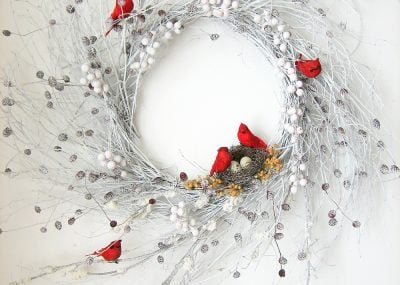 Snowy Red Cardinal Winter Wispy Wreath 18