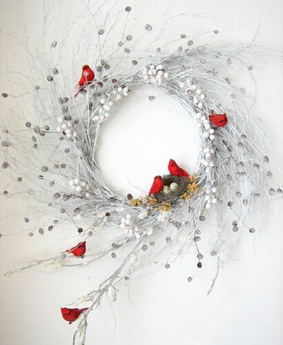 Snowy Red Cardinal Winter Wispy Wreath 35